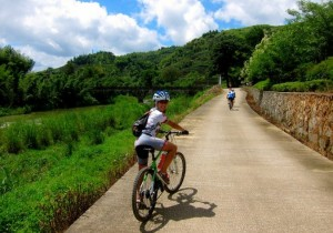 Kristen Biking in Hutong gear