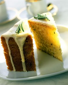 Olive and Rosemary cake with Lemon Glaze