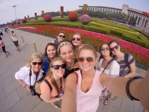 Alyssa Scherr and her TCU classmates posing for a selfie during a day trip to Tianjin.